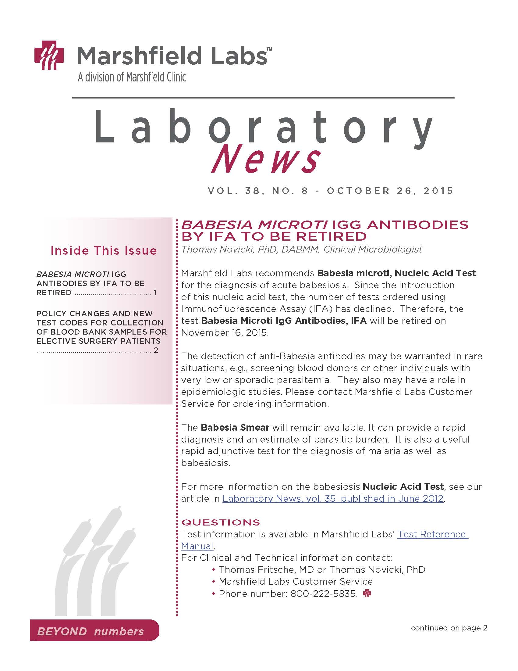 Laboratory News Cover